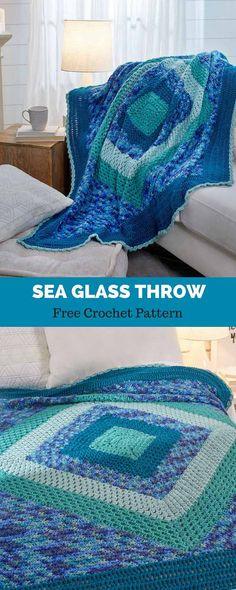 Crochet Blankets Ideas Sea Glass Throw free crochet pattern in Soft yarn. Crochet Crafts, Easy Crochet, Crochet Projects, Free Crochet, Knit Crochet, Crochet Owls, Beginner Crochet, Crochet Animals, Crotchet