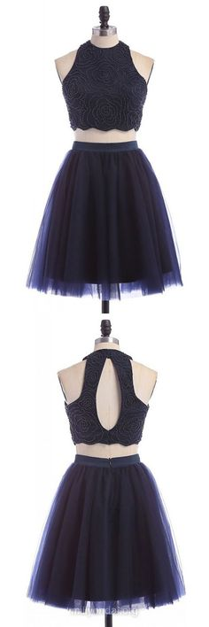 Sexy Homecoming Dresses,A-line Scoop Neck Formal Party Gowns, Tulle Short Beading Graduation Dress, Dark Navy Two Piece Prom Dress