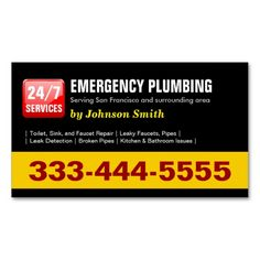 Plumber - 24 HOUR EMERGENCY PLUMBING SERVICES Double-Sided Standard Business Cards (Pack Of 100). Make your own business card with this great design. All you need is to add your info to this template. Click the image to try it out!