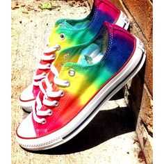 Summer Rainbow Tie Dye Converse Shoes ($90) ❤ liked on Polyvore featuring shoes, converse, sneakers, rainbow shoes, tye dye shoes, converse footwear, converse shoes and summer footwear