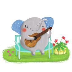 Gina Lorena Maldonado - Elephant Playing Guitar - GM