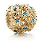 Pandora Bead 14kt Ocean Treasures with Deep Blue Topaz