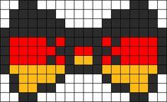 German Flag Bow Perler Bead Pattern / Bead Sprite Melty Bead Patterns, Kandi Patterns, Hama Beads Patterns, Beading Patterns, Pixel Art Templates, Perler Bead Templates, Peler Beads, Bow Pattern, Minecraft Pixel Art