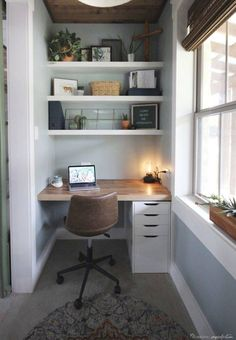 Reinventing a Small Space - A Tiny Office Tiny Home Office, Small Home Offices, Home Office Setup, Home Office Organization, Home Office Design, Small Home Interior Design, Office Inspo, Office Designs, Home Work