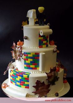 Lego wedding cake with minifigs on top