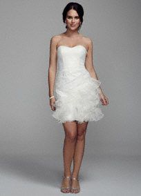 Short, sweet and chic, you will look stunning on your special day in this ultra-feminine lace dress!  Strapless all over lace bodice with sweetheart neckline and ruched side  Features feather ruffle skirt adds drama and dimension.  Fully lined.Back zip.Imported. Dry clean only.  To protect your dress, try our Non Woven Garment Bag.