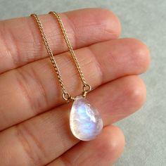 Rainbow Moonstone Necklace.