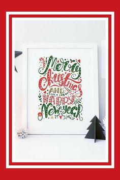 Red And Green Christmas Sign Digital Christmas Card Printable Christmas Art Print Merry Christmas Happy New Year 8x10 5x7 Instant Download #christmasartideas #ad