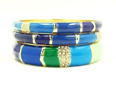 A sea of rich Blues & Greens in these Color Block Enamel Bangle Bracelets from @GemmyJewels