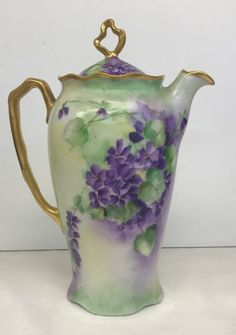 Hand Painted Rosenthal German Porcelain Chocolate Pot Violets Gold Gilt Coffee