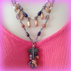 Beaded Dragonfly and Gemstone Necklace and Earring by WirednStrung