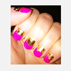 party nails with gold foil