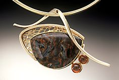 14K pendant with Pietersite and garnets