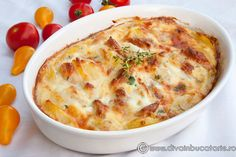 gratin-de-cartofi-cu-piept-de-puI Great Chicken Recipes, Baby Food Recipes, Romanian Food, Penne, Cheeseburger Chowder, Macaroni And Cheese, Deserts, Food And Drink, Soup
