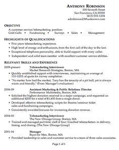 resume for telemarketing