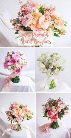 Most Popular Bridal Bouquets // Wedding flower inspiration for brides