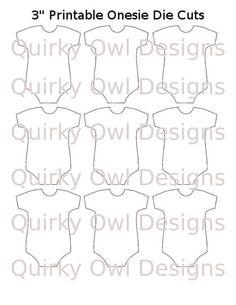 Onesie Die Cut Digital Editable Template por QuirkyOwlDesigns
