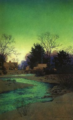 """""""Lull Brook Winter"""" (detail) by Maxfield Parrish an American painter and illustrator active in the first half of the century. He is known for his distinctive saturated hues and idealized neo-classical imagery. Paintings I Love, Love Painting, Winter Painting, Cheap Paintings, China Painting, Painting Abstract, Landscape Art, Landscape Paintings, Winter Landscape"""