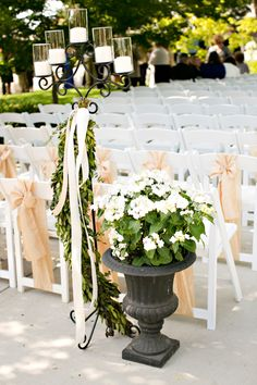 Elegant outdoor ceremony decor: http://www.stylemepretty.com/california-weddings/turlock/2015/10/08/classic-elegant-lavender-farm-wedding/ | Photography: Brooke Beasley - http://brookebeasleyphotography.com/