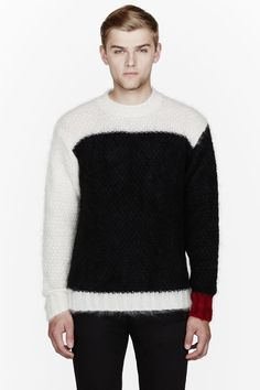 MARNI Black mohair asymmetric colorblocked sweater