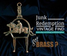 Brass horse jockey hooks by JunkRedemption on Etsy
