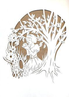 Snow White Papercutting by Rose-Ann-Mary-K on deviantART Snow White Movie, Snow White Doll, Deco Disney, Disney Fan Art, Paper Cutting, Cut Paper, Kirigami, Disney Silhouettes, Paper Cut Design
