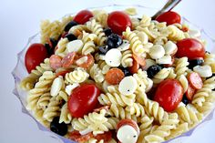 Pizza Pasta Salad.  I love the idea of using string cheese in this.  I would not use the tomatoes or olives due to taste, but this kind of salad is so versatile.  I have found that the mini pepperoni have no taste, so will just quarter the big ones.