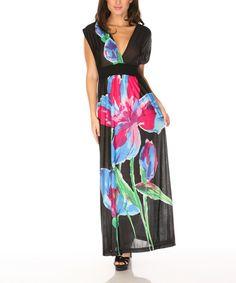 This Black & Iris Flower Maxi Dress by Radzoli is perfect! #zulilyfinds
