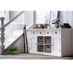 Products Rustic White Sideboard With Four Baskets Seasonal Cactus Lovers Have Options Article Body: White Sideboard, Rustic Sideboard, Shaker Style Doors, Painted Chest, Countertop Materials, Rattan Basket, Rustic White, White Furniture, Furniture Collection