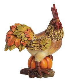 Take a look at this Pumpkin Harvest Rooster Figurine by Transpac Imports on #zulily today!