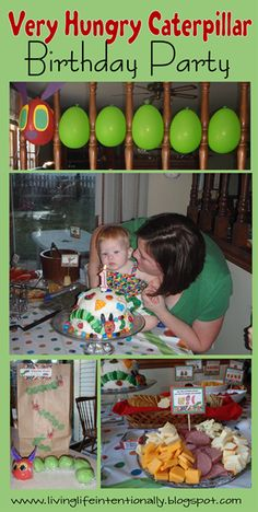 SUPER cute Birthday Party based on The Very Hungry Caterpillar.    Includes ideas for decorations, cake, DIY favors, food to serve, games, activities, invitations, and more!