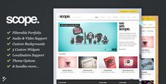 Scope is the perfect theme for the creative agency, freelancer or general business. Strong lines, strong colours and a bunch of super-awesome features to keep you busy.  Custom Backgrounds – Scope allows you to set a custom background for each individual post, page and portfolio project. A super-quick way to get creative with your site.