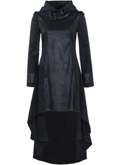 Queen of Darkness High Collar Hooded Dress   Attitude Extreme