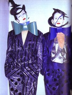 Models : Beth Lago and Lisa Rubenstein , France Andrevie Fashion Show, 1982 80s Fashion, Fashion Show, Fashion Art, Fashion Design, Street Fashion, Romantic Goth, Romantic Fashion, Leigh Bowery, Blitz Kids