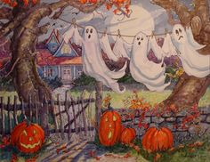 "Daily Paintworks - ""Halloween Laundry Revisited"" - Original Fine Art for Sale - © Alida Akers Halloween Painting, Halloween Prints, Halloween Signs, Halloween Pictures, Halloween Art, Holidays Halloween, Vintage Halloween, Halloween Pumpkins, Happy Halloween"