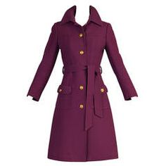 Slender Valentino for TWA 1970's Wool Trench Coat with Logo Buttons