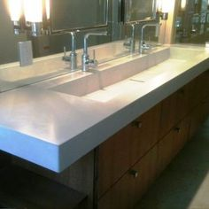 Bathroom: Trough Sink With Wood Cabinet Vanity And Double Wall ...