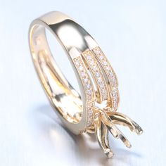 14k Yellow Gold Ring Engagement/Anniversary Diamond Jewelry Ring Semi Mount #SolitairewithAccents