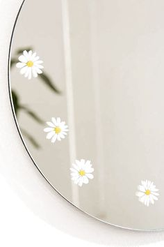 Slide View: Daisy Round Mirror decor diy Home Décor + Apartment Sale Mirror Painting, Mirror Art, Diy Mirror, Mirror Decal, Aesthetic Painting, Aesthetic Room Decor, Aesthetic Art, Mirrors Urban Outfitters, Diy Room Decor