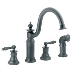 Bon Moen Waterhill Double Handle Widespread Kitchen Faucet With Convenient Side  Spray Finish: Wrought Iron