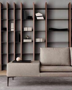 Shelving Design, Bookshelf Design, Home Living Room, Living Room Designs, Wall Bookshelves, Bookcase, Cabinet Shelving, Living Room Cabinets, Bedroom Furniture Design