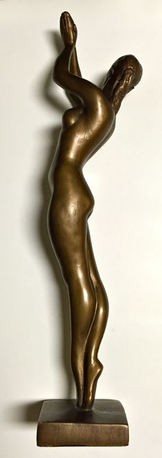 Lovely Vintage Tall Statue Sculpture Austin Productions Nude Woman in Ballerina Pose Cast Metal Applied Bronze Finish Dated 1970 by YatsDomino on Etsy