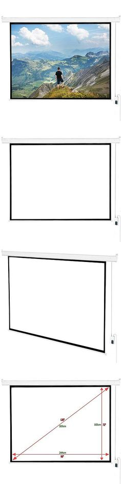 Projection Screens and Material: 120 4:3 Hd Electric Projector Screen Auto Remote Control Home Theater Screen BUY IT NOW ONLY: $84.99