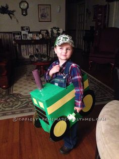 Cool Tractor Farmer Cardboard Box Costume... Coolest Homemade Costumes