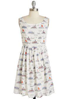 Write Your Storybook Dress - Sheer, Woven, Novelty Print, Print, Casual, Nautical, Sleeveless, Summer, Multi, White, Sundress, Americana, A-line, Good, Scoop
