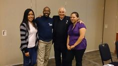 GRAD AmeriCorps College Success Members Myrna Moctezuma, David Landry, and Rena Alvarez pose with UHD President, Dr. William Flores at The Connections Mentoring Program Luncheon