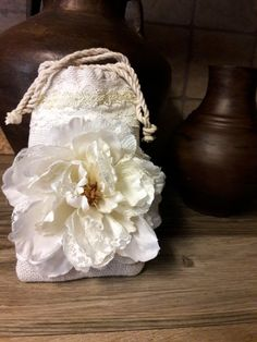 Rustic burlap and lace dollar dance bag, money bag, bridal ...