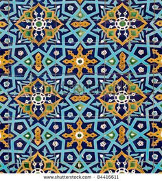 oriental pattern on wall of the mosque, lined with tiles