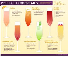 Cocktail recipe with prosecco Champagne Drinks, Prosecco Cocktails, Cocktail Drinks, Cocktail Recipes, Sangria, Party Drinks, Fun Drinks, Yummy Drinks, Alcoholic Drinks