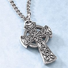Gold Chain Men Crosses Men's Celtic Cross Necklace - Made of solid pewter, the 1 cross is richly embossed on both sides and hangs from a 24 chain. Mens Celtic Cross Necklace, Mens Silver Necklace, Celtic Crosses, Silver Earrings, Mens Neck Chains, Gold Chains For Men, Irish Jewelry, Tiffany Jewelry, Jewelry Crafts